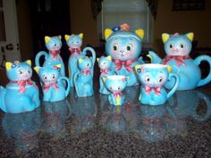 Norcrest Blue Cat Collection  This adorable set was made in the Miyao (PY) factory and was distributed by Norcrest. They were made in the late 1950s.