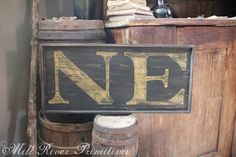 Small Reproduction 18th c New England 'NE' Colonial Wooden Sign