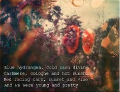 Lana Del Rey Lyrics - Old Money _ Blue hydrangea, cold cash, divine, cashmere, cologne and white sunshine. Red racing cars, sunset and vine. And we were young and pretty.