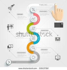 Business timeline infographic template. Vector illustration. can be used for workflow layout, banner, diagram, number options, web design. - stock vector