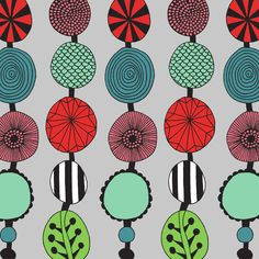 FLOWERS IN CRIMSON & TEAL  Hand-drawn pattern by Sian Elin, from her website