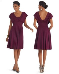 Love this dress!   - White House | Black Market Genius Convertible Fit & Flare Burgundy Dress #whbm