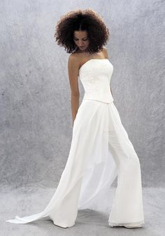A bridal pantsuit is a cool alternative to a traditional dress and a great option for a rehearsal dinner. As such pantsuits are one of the hottest 2014 trends, many designers presented one or more models in their collection