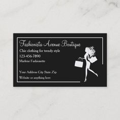 Trendy Fashion Boutique Apparel Store Business Card Trendy fashion boutique business cards template in a classy design with your business name in elegant letters and simple layout with a fashionista shopping girl in the background framed and organized for you in advance. #FashionDesignersBusinessCards
