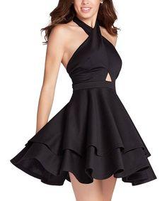 Look at this #zulilyfind! Black Cross-Over Halter Dress #zulilyfinds
