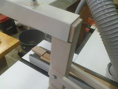Shop Built Table Saw Overarm Dust Collection Hood.