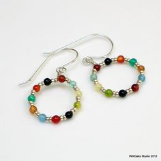 Colorful Beaded Hoop Earrings Bright Stones and by WillOaksStudio, $27.00