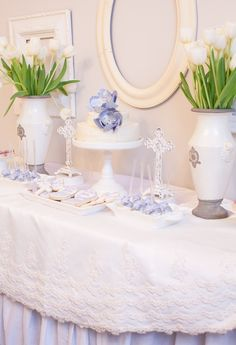 Use the bottom of an otherwise unusable wedding dress as a beautiful table drape #baptism #firstcommunion