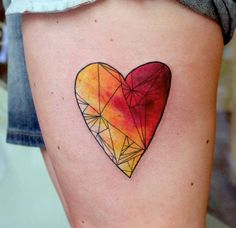 Watercolor heart tattoo by Lukasz Bam Kaczmarek in Krakow, Poland    Really pretty. I'd go with purples and teals