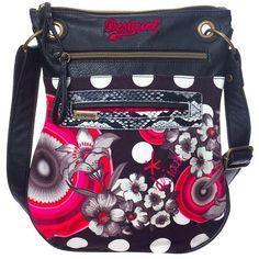Desigual Bandolera Flower Geometric Shoulder Bag ($69) ❤ liked on Polyvore featuring bags, handbags, shoulder bags, desigual, desigual handbags, flower handbag, geometric purse and desigual purse