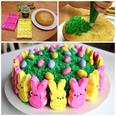 Easy Marshmallow Peeps Easter Cake