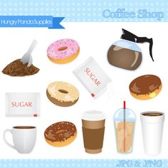 Items similar to Coffee clipart, donuts clipart, coffee shop clip art, digital clipart coffee on Etsy Coffee Shop, Coffee Clipart, Fun Crafts, Paper Crafts, Wedding Donuts, Clip Art Pictures, Shops, Homemade Donuts, Coffee Time