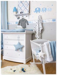 Kinderzimmer junge baby blau  babyzimmer gestalten aqua blau grau wandgestaltung baum schablone ...