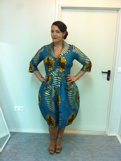 May 5 2013, Fernsehgarten Germany Dress: custom made by Cherry Sue (fabric by Vlisco) Jewelry: all vintage Shoes: Zara