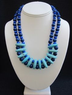 """~ 1"""" Turquoise Links  ~ 8mm Navy Jade Rounds  ~ 7mm Faceted Sapphire Cyrstal Rondelles    22"""" Round  Brass Toggle Closure    $248.00"""