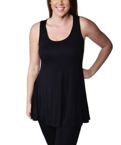 Another great find on #zulily! Black Scoop Neck Tank - Plus #zulilyfinds
