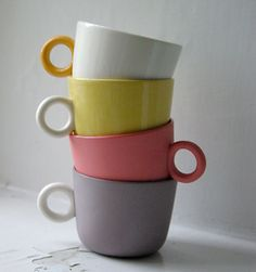 by Joanna Ojanen (okra) Okra, Birthday Parties, Pottery, Clay, Mugs, Coffee, Tableware, Party, Colorful