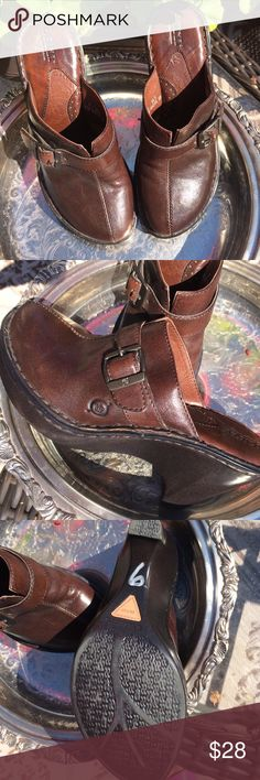 Born leather clogs Brown leather clogs with buckle detail. Barely worn. Born Shoes Mules & Clogs