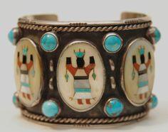 Vintage zuni navajo  hallmarked turquoise & coral bracelet by navajo artist Delbert Chatter