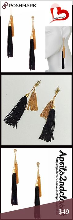 ❗1-HOUR SALE❗Austrian CRYSTAL TASSEL EARRINGS CRYSTAL TASSEL EARRINGS Statement   COLOR: BLACK, GOLD  ABOUT THIS ITEM * Brilliant pave crystal balls add a boho glam vibe  * Dangle fringe construction  * Gold-tone textured finish * Stud Post back * High quality & well made  * Multi gold-tone chains and tassel toppers MATERIAL Gold-tone metal & 14k gold plated brass, genuine crystals, & textile fringe  ❌NO TRADES❌ ✅BUNDLE DISCOUNTS ✅ OFFERS CONSIDERED ITEM#B94500 SEARCH WORDS # boho metallic…