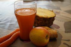 Slowjuicer: Gulerods/Æblejuice med ingefær og ananas