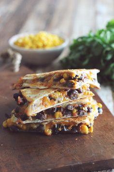 10 Minute Black Bean & Corn Quesadillas | Dashing Dish. Note: 330 Calories, 8 g Fat, 12 g Fiber, 7 g Sugar, 31 g Protein, 9 Weight Watchers Points+.