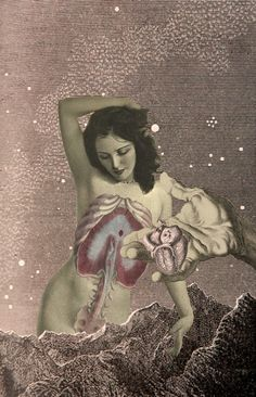 """Have a Heart"" - Julia Lillard, collage {surreal standing female internal anatomy with hand holding anatomical heart}"