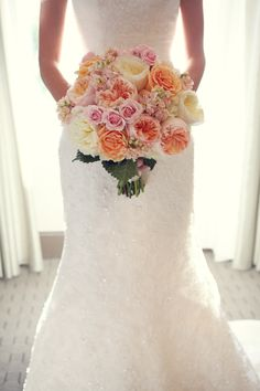 This bouquet is it. Pink and coral wedding bouquet. Flowers, bridal, bouquet for the bride. Image by Dana Laymon Photography Harry Wedding, Our Wedding, Dream Wedding, Wedding Stuff, Bride Bouquets, Bouquet Flowers, Wedding Flowers, Wedding Dresses, Bride Flowers