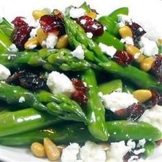 Asparagus with pine nuts, cranberries and feta Recipe by KSUGIRL93 via @SparkPeople. Made this the other night. Super yummy.