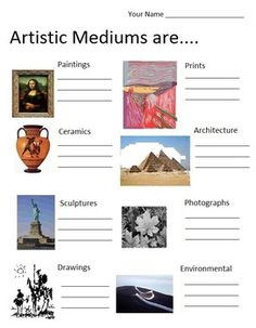 Artistic Mediums are....(6 pages, includes Teachers Guide)