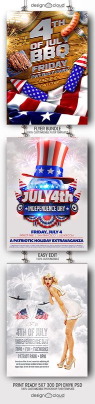 July 4 Independence Day Minimal Flyer Template Patriots, Parks - independence day flyer