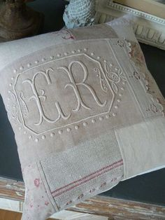 Bits and pieces of beautiful linen.and a Monogram Embroidery Monogram, Hand Embroidery Designs, Handmade Pillows, Decorative Pillows, Monogram Design, Monogram Fonts, Sewing Pillows, Linens And Lace, Fine Linens