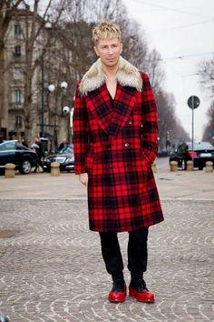 Kyle Anderson @Kyle Anderson at Milan Fashion Weekwearing Michael Kors coat and Prada shoes