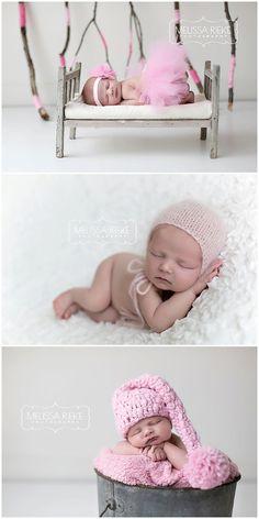 Newborn Baby Girl Photos | Pink Yarn Sticks | Pink Knit Baby Hat | Baby Photos | Kansas City Newborn Photographer | Melissa Rieke Photography