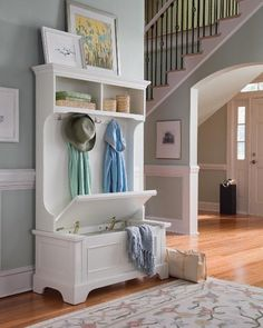 Awesome idea - a chest that can be used as a bench in the hallway.