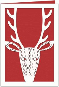Silhouette Design Store: reindeer papercut 7x5 winter holiday card - for sale only for personal use at website.