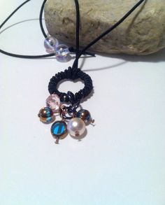 Pearl and Glass choker charm necklace blue by HomeGrownCreationz