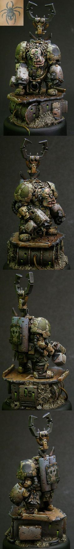 Nurgle Ork. I personally don't like the painting style but it's a cool concept.