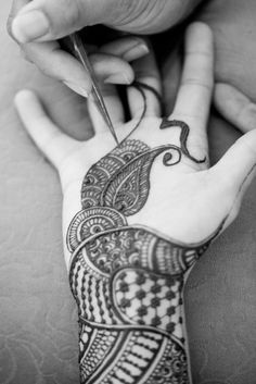 Mehndi - traditionally applied to the hands of an Indian bride for her wedding ceremony. More info:  http://www.deshvidesh.com/Current_Issue/Desh-Videsh-June-2012/Indain-Marriages.html