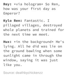 HAHAHA When Ben takes over instead of Kylo #SaveBenSolo #reylo