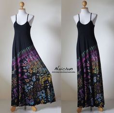 Tie Dye Sexy Funky  Long Boho Cotton Maxi Gown  Funky by Nuichan, $55.00