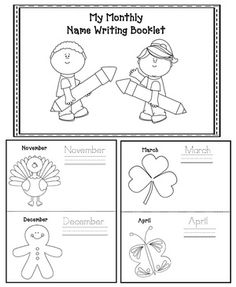 Name writing activities: Monthly name writing booklet. What a great keepsake at the end of the year.
