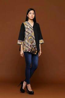 Batik Fashion, Hijab Fashion, Blouse Styles, Blouse Designs, Blouse Batik Modern, Dress Batik Kombinasi, Outer Batik, Batik Blazer, Model Kebaya Modern