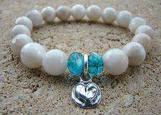 Gemstone Bracelet, Sterling Silver, Heart Charm Bracelet, Beaded Bracelet, Stretch Bracelet, Bead Bracelet Women, Stack Beaded Bracelet by BeJeweledByCandi