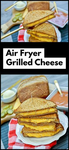 Air Fryer Grilled Cheese Sandwich - THE TROPHY WIFESTYLE Best Lunch Recipes, Sandwich Recipes, Delicious Recipes, Easy Recipes, Yummy Food, Easy Family Meals, Quick Easy Meals, Cooking Ideas, Cooking Recipes