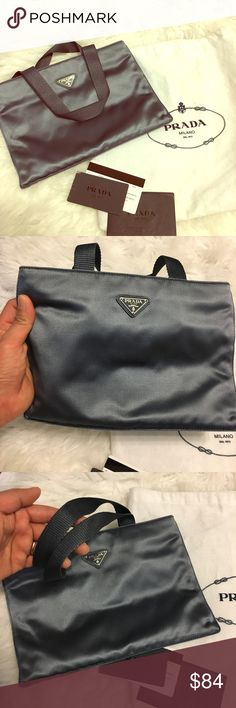 Prada Rasp Sport Evening bag... Small Prada blue grey satin day or evening bag includes dust bag and authenticity card if you like small hand carry bag this is a perfect bag for you..like new condition!! Prada Bags Mini Bags