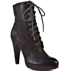 FRYE SHOES : HARLOW LACE UP 76615 - CHARCOAL
