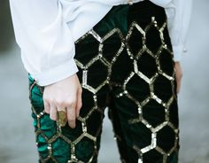 // honeycomb sequins - fun print!  With knits for day and leather (or faux) tee at night!