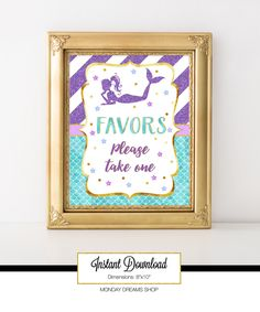 Printable Mermaid Party Sign, Favors Please take one Sign, Party Decoration, Baby Shower, Birthday, Under the Sea Party A-068 by MondayDreamsShop on Etsy https://www.etsy.com/listing/497231779/printable-mermaid-party-sign-favors