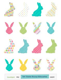 This Bunny Silhouette Clipart Set is perfect for making fun crafts this Easter… Easter Crafts, Fun Crafts, Easter Ideas, Easter Placemats, Simple Collage, Easter Games, Chevron, Easter Printables, Fathers Day Crafts